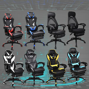 Video Computer Gaming Chair W Footrest Racing High Back Recliner Swivel Seat