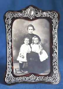Antique 1894 English Hallmark Sterling Silver Faux Tortoise Shell Picture Frame