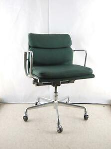Vintage Herman Miller Eames Dark Green Fabric Office Aluminum Group Chair