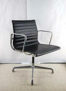 Vintage Herman Miller Eames Black Leather Office Aluminum Group Chair Quad Stand