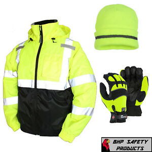 Hi vis Insulated Safety Bomber Jacket With Winter Weather Work Gloves hat Lime