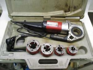 Ridgid 600 Hand held Power Drive Pipe Threader With 4 11 r Die Heads And Case