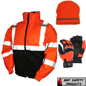 Hi vis Insulated Safety Bomber Jacket With Winter Weather Work Gloves hat Orange