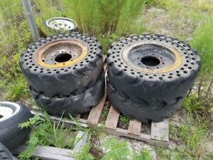 Set Of 4 Skid Steer Hard Tires Solid Tires W Rims Came Off Of A Bobcat S175