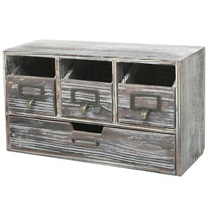 Rustic Brown Torched Wood Finish Desktop Office Organizer Drawers Craft Suppli