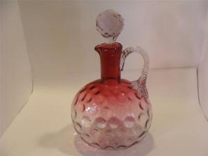 Antique Victorian Glass Rubina Decanter Twisted Handle Faceted Stopper 1850 1899