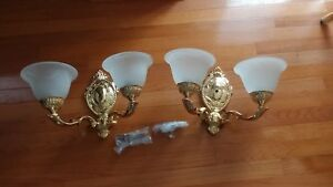 Pair Of Ornate Electric Light Wall Sconces Lot Of 2 Polished Gold