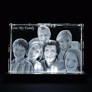 3d Laser Crystal Glass Personalized Etched Engrave Gift Portrait 2xl Cube