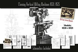 Clausing Vertical Milling Machines 8520 8525 Manual Parts Lists Schematics