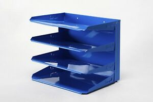 Retro Steel Office Mail File Organizer Refinished In Blue Free Shipping