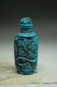 Delicate Chinese Turquoise Hand Carved Snuff Bottle Bat No 04