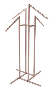4 Way Clothing Rack Rose Gold Slant Arms
