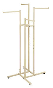 4 way Clothing Rack With Straight Arms off Whtie Ivory