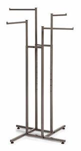 4 way Clothing Rack With Straight Arms raw Steel