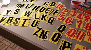 4 Portable Sidewalk Marquee Readerboard Sign Letters Yellow Letters Numbers