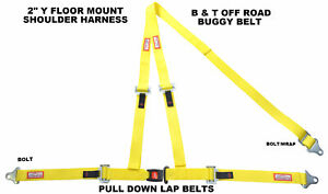 Yellow Seat Belt Race Style 3 Point Harness Bolt In Y Floor Mount Push Button