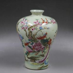 6 China Antique Porcelain Qing Tongzhi Famille Rose Painting Phoenix Peony Vase