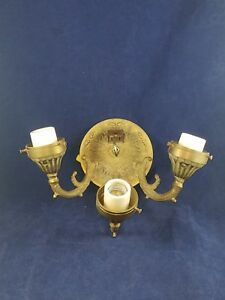 Vintage Triple Brass Electric Sconce Wall 3 Arms Light Made In Spain W Outlet