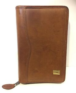 Day Timer Planner Agenda Organizer Distressed Leather Cmb Initials Warm Brown