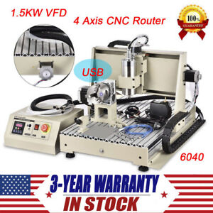 4 Axis Diy Cnc 6040 Wood Milling Router Kit Usb 1500w Engraver Engraving Machine