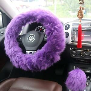 Grip Steering Wheel Cover Set Blue Girls Women Cute Furry Car Auto Accessories