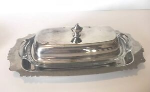 Vintage Silver Plate Butter Dish W Lid Glass Insert And Extra Underplate