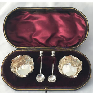 Set Silver Salts Spoons In Original Case Ca 1881 Nathan Hayes Birmingham