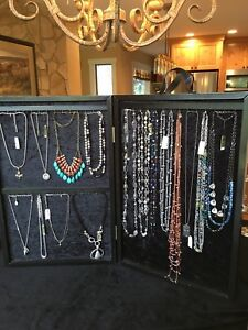 Two Jewelry Display Cases Portable Black Wood With Black Velveteen Lining