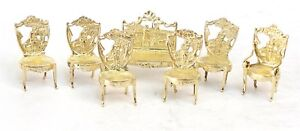 English Gilt Sterling Miniatures Chairs Settee London 1903