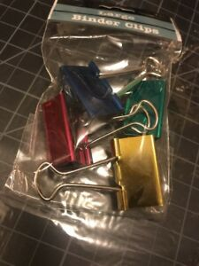 Baumgartens Large Binder Clips Lot Of 32 8 Bags Of Four 1 1 4 Inch
