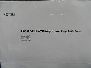 Sealed Nortel Bcm50 Ntkc0216 Vpin amis Msg Networking Authorization Key Code