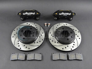 Wilwood Dpha Front Brake Calipers Drilled Slotted Rotors Kit Black 92 00 Civic E