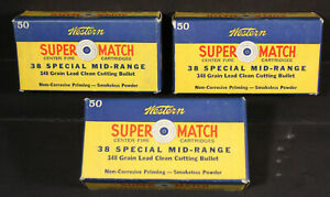 Three (3) Nice Winchester-Western Super Match .38 Special Mid-Range Ammo Boxes