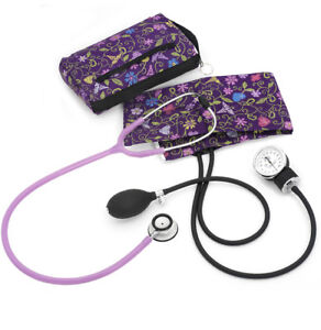 Premium Aneroid Clinical Lite Stethoscope Kit floral Stitch Orchid New