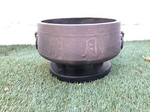 Large Antique Oriental Tripod Footed Bronze Pot Censer Jardiniere