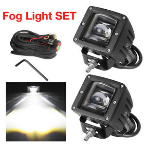 Dot Sae J583 Led Fog Light Kit 48w Offroad Tractor Pickup Jeep Suv 4wd Lamps X2