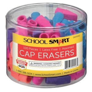 School Smart Chisel Shaped Latex free Pencil Cap Eraser Assorted Colors Pack 100