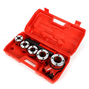 New Ratchet Pipe Threader Kit Set Ratcheting W 5 Dies And Case Us Free Shipping