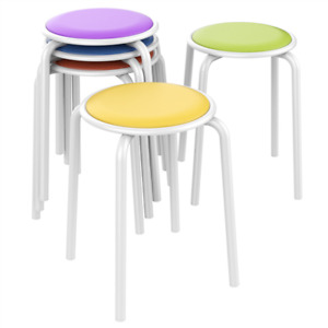5pcs Stack Stools Classroom Stools Chairs For Kids Students Padded Seat 17 7 H
