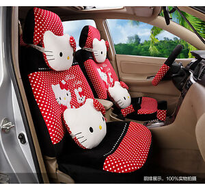 20 Piece Black red Polka Dot Pretty Hello Kitty And Bunny Car Seat Covers