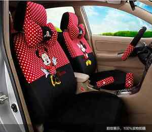 18 Piece Red black Polka Dot Mickey And Minnie Car Seat Covers