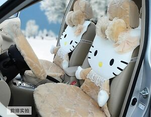 Full Cover Lace 3d Creamy Hello Kitty Car Seat Covers