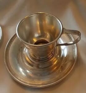 International Sterling Silver Demitasse Cup Saucer Average 73 Grams Each C S