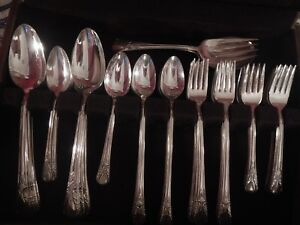 Avalon Cabin Wm Rogers Mfg Silverplate Grille Set For 12 Soup Iced Tea 4 Serv