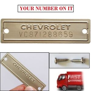 Chevrolet Vin Plate Serial Number Data Chevy Id Tag Replacement 1953 1963 New