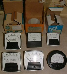 Lot Of 5 Analog Panel Meters Ge Simpson triplet
