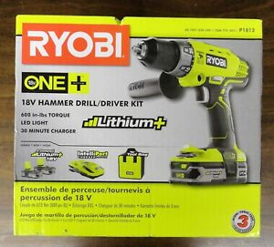 Ryobi One P1812 18v Hammer Drill driver Kit includes 2 Batteries charger New