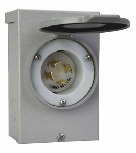30 Amp Power Inlet Box Metal Cover Outdoor Mounting For Portable Generator