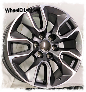 20 Inch Gunmetal Machine 2019 Gmc Sierra 1500 Denali Oe Rst Replica Wheels 6x5 5