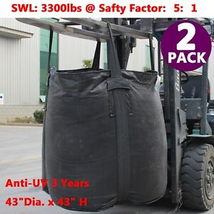 2x Anti uv Fibc Bulk Bags Super Sacks 43 Dia 3300 Lbs Swl 1 5 Ton Bag Duffle Top